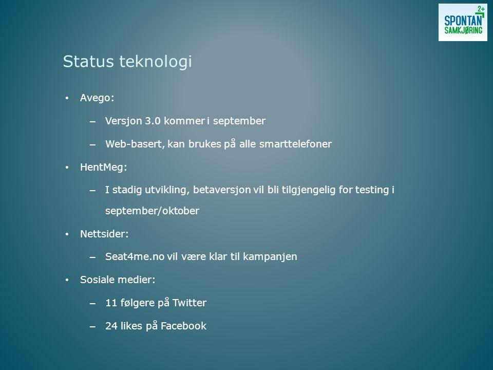 • Avego: – Versjon 3.0 kommer i september – Web-basert, kan brukes på alle smarttelefoner • HentMeg: – I stadig utvikling, betaversjon vil bli tilgjengelig for testing i september/oktober • Nettsider: – Seat4me.no vil være klar til kampanjen • Sosiale medier: – 11 følgere på Twitter – 24 likes på Facebook Status teknologi