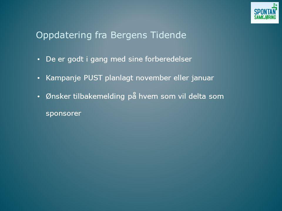 • De er godt i gang med sine forberedelser • Kampanje PUST planlagt november eller januar • Ønsker tilbakemelding på hvem som vil delta som sponsorer Oppdatering fra Bergens Tidende