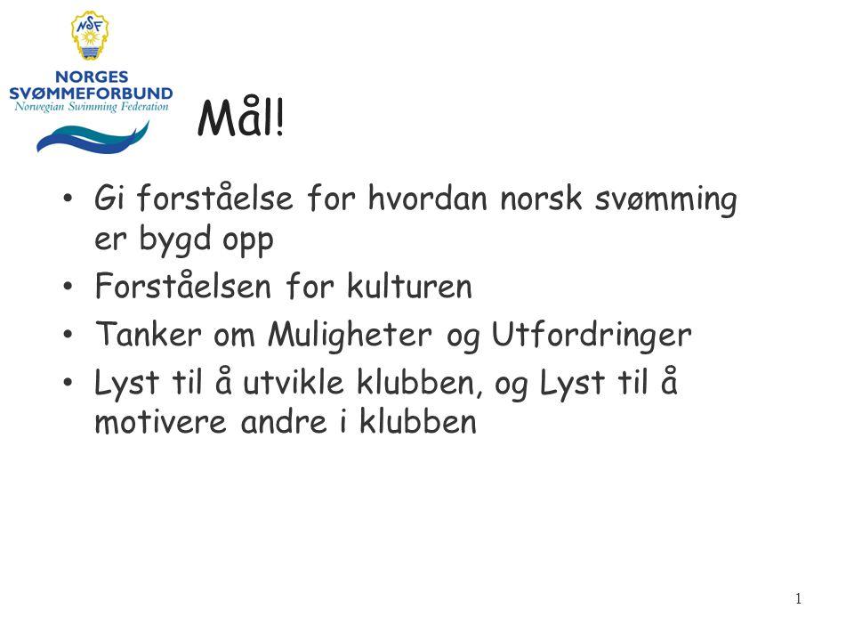 Mål! • Gi forståelse for hvordan norsk svømming er bygd opp • Forståelsen for kulturen • Tanker om Muligheter og Utfordringer • Lyst til å utvikle klu