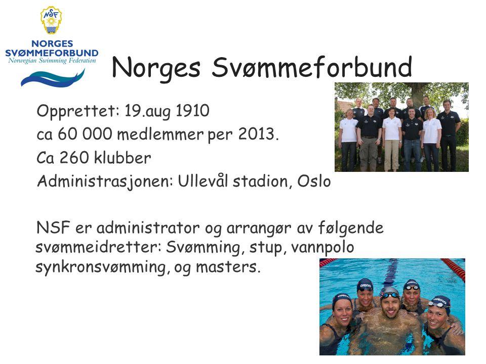 Norges Svømmeforbund Opprettet: 19.aug 1910 ca 60 000 medlemmer per 2013. Ca 260 klubber Administrasjonen: Ullevål stadion, Oslo NSF er administrator