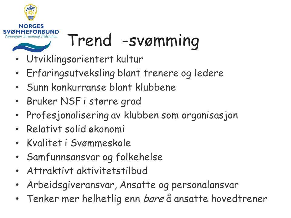 Trend -svømming • Utviklingsorientert kultur • Erfaringsutveksling blant trenere og ledere • Sunn konkurranse blant klubbene • Bruker NSF i større gra