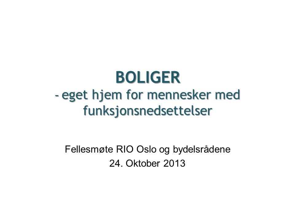 BOLIGER - eget hjem for mennesker med funksjonsnedsettelser Fellesmøte RIO Oslo og bydelsrådene 24. Oktober 2013