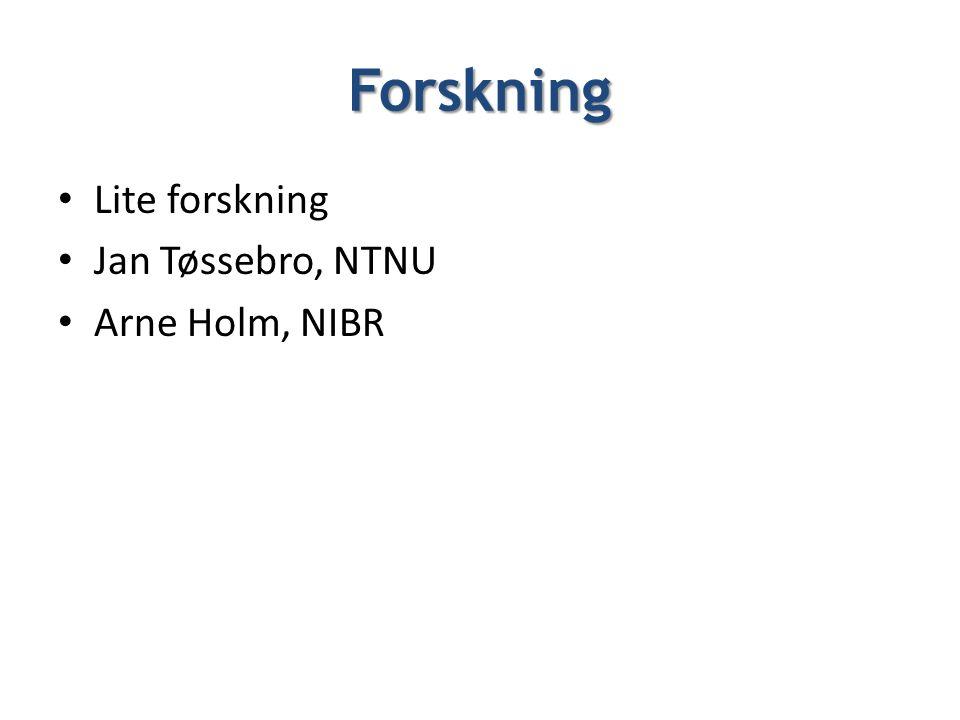 Forskning • Lite forskning • Jan Tøssebro, NTNU • Arne Holm, NIBR