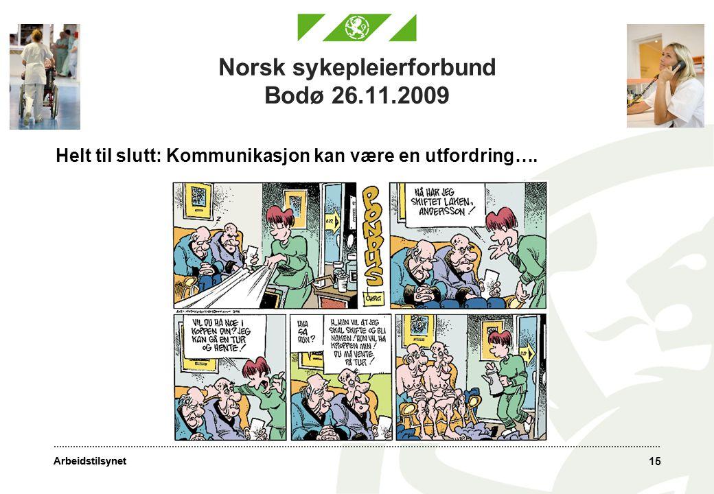 Arbeidstilsynet 15 Norsk sykepleierforbund Bodø 26.11.2009 Helt til slutt: Kommunikasjon kan være en utfordring….