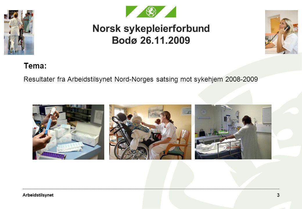 Arbeidstilsynet 3 Norsk sykepleierforbund Bodø 26.11.2009 Tema: Resultater fra Arbeidstilsynet Nord-Norges satsing mot sykehjem 2008-2009