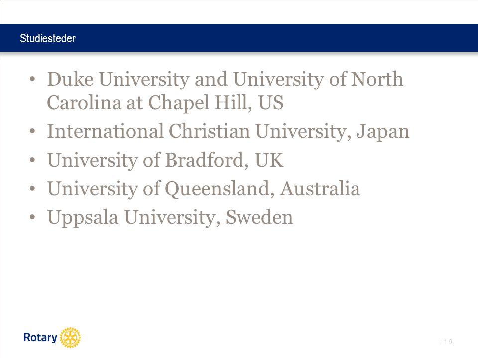 | 10 Studiesteder • Duke University and University of North Carolina at Chapel Hill, US • International Christian University, Japan • University of Bradford, UK • University of Queensland, Australia • Uppsala University, Sweden