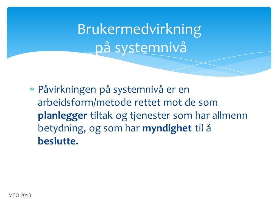 Kunnskapsbasert praksis Forskningsbasert kunnskap Erfaringsbasert kunnskap Brukerkunnskap og brukermedvirkning Kunnskapsbasert praksis Kontekst MBO 2013