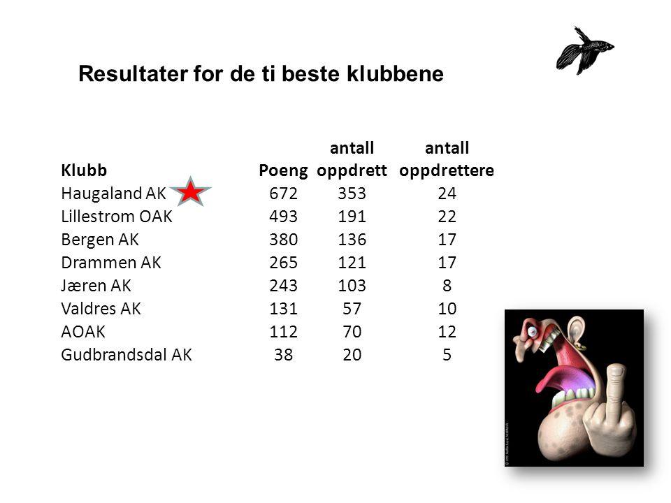 Resultater for de ti beste klubbene KlubbPoeng antall oppdrett antall oppdrettere Haugaland AK67235324 Lillestrom OAK49319122 Bergen AK38013617 Drammen AK26512117 Jæren AK2431038 Valdres AK1315710 AOAK1127012 Gudbrandsdal AK38205
