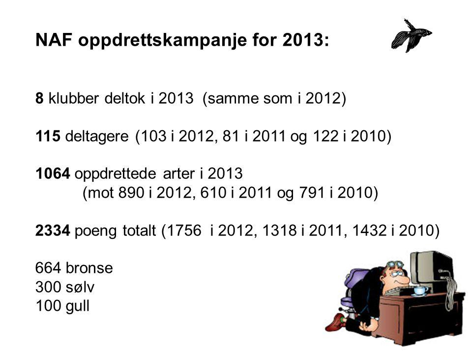 NAF oppdrettskampanje for 2013: 8 klubber deltok i 2013 (samme som i 2012) 115 deltagere (103 i 2012, 81 i 2011 og 122 i 2010) 1064 oppdrettede arter i 2013 (mot 890 i 2012, 610 i 2011 og 791 i 2010) 2334 poeng totalt (1756 i 2012, 1318 i 2011, 1432 i 2010) 664 bronse 300 sølv 100 gull