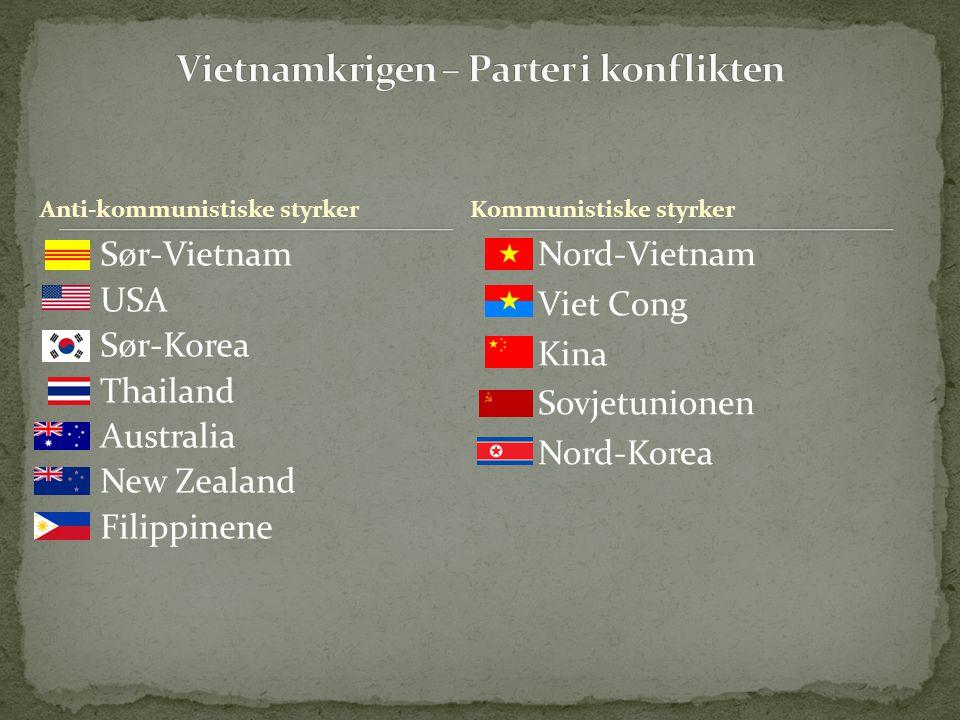 Anti-kommunistiske styrker Sør-Vietnam USA Sør-Korea Thailand Australia New Zealand Filippinene Nord-Vietnam Viet Cong Kina Sovjetunionen Nord-Korea K