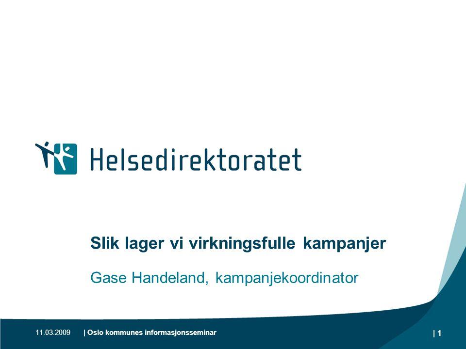 11.03.2009| Oslo kommunes informasjonsseminar | 1 Slik lager vi virkningsfulle kampanjer Gase Handeland, kampanjekoordinator
