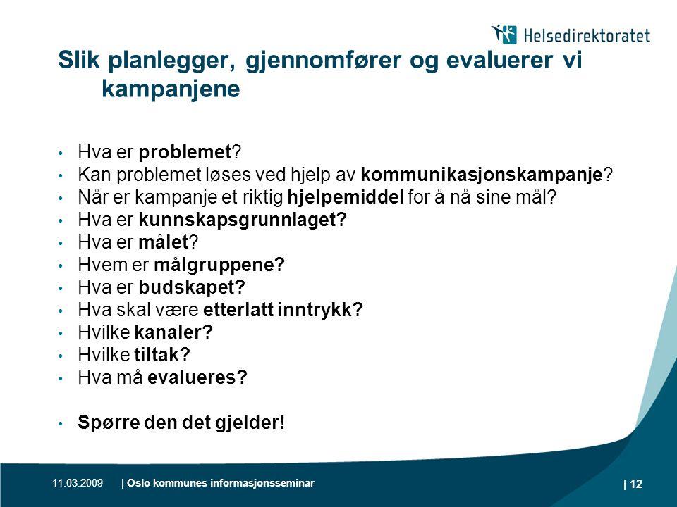 11.03.2009| Oslo kommunes informasjonsseminar | 12 Slik planlegger, gjennomfører og evaluerer vi kampanjene • Hva er problemet? • Kan problemet løses