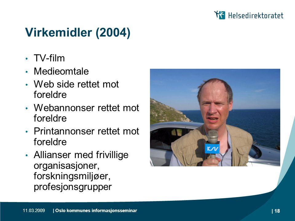 11.03.2009| Oslo kommunes informasjonsseminar | 18 Virkemidler (2004) • TV-film • Medieomtale • Web side rettet mot foreldre • Webannonser rettet mot