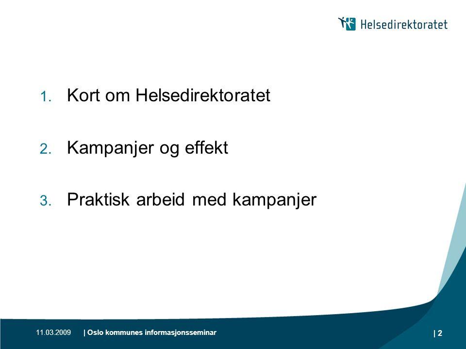 11.03.2009| Oslo kommunes informasjonsseminar | 2 1. Kort om Helsedirektoratet 2. Kampanjer og effekt 3. Praktisk arbeid med kampanjer