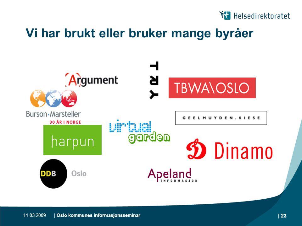 11.03.2009| Oslo kommunes informasjonsseminar | 23 Vi har brukt eller bruker mange byråer