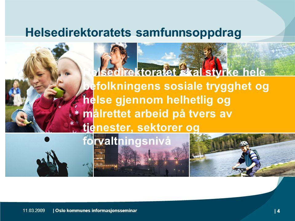 11.03.2009| Oslo kommunes informasjonsseminar | 4 Helsedirektoratets samfunnsoppdrag Helsedirektoratet skal styrke hele befolkningens sosiale trygghet