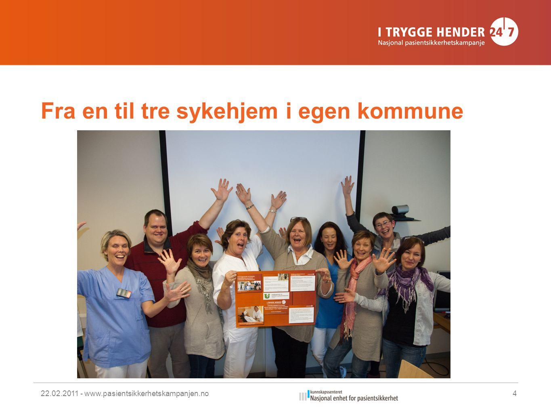 Fra en til tre sykehjem i egen kommune 22.02.2011 - www.pasientsikkerhetskampanjen.no4