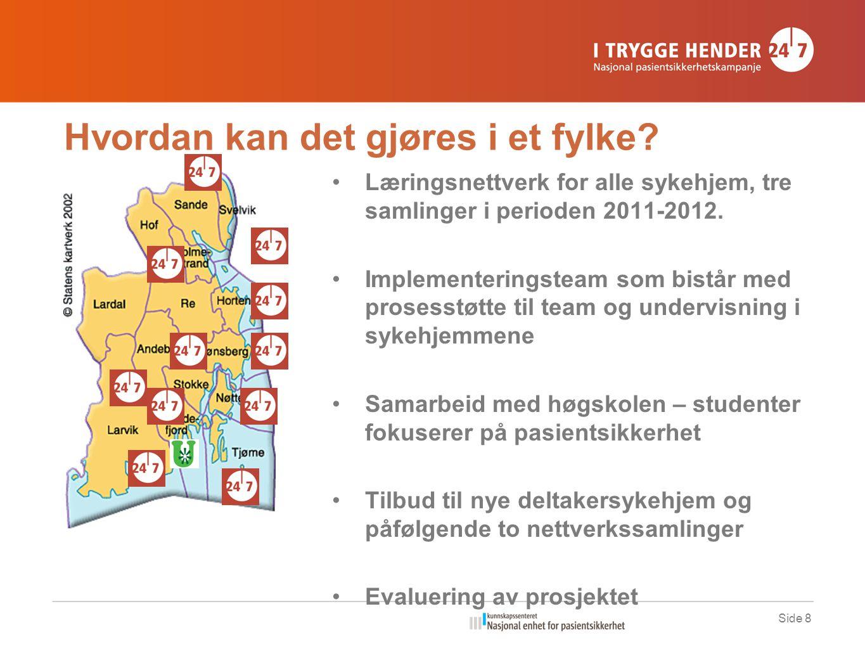 Hvordan kan det gjøres i et fylke? •Læringsnettverk for alle sykehjem, tre samlinger i perioden 2011-2012. •Implementeringsteam som bistår med prosess