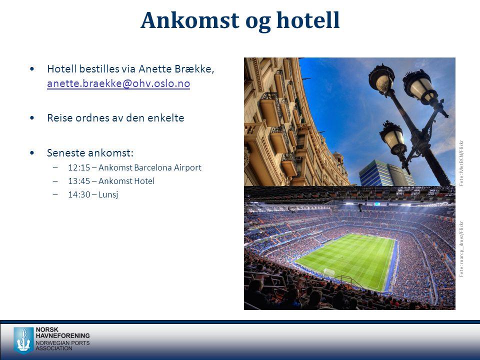 Ankomst og hotell •Hotell bestilles via Anette Brække, anette.braekke@ohv.oslo.no anette.braekke@ohv.oslo.no •Reise ordnes av den enkelte •Seneste ankomst: –12:15 – Ankomst Barcelona Airport –13:45 – Ankomst Hotel –14:30 – Lunsj Foto: MorBCN/Flickr Foto: marcp_dmoz/Flickr