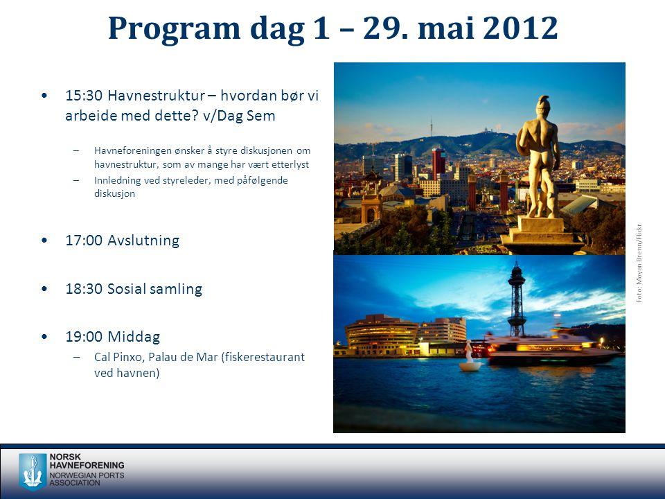 Program dag 1 – 29. mai 2012 •15:30 Havnestruktur – hvordan bør vi arbeide med dette? v/Dag Sem –Havneforeningen ønsker å styre diskusjonen om havnest