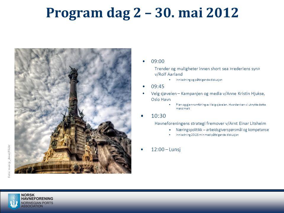 Program dag 2 – 30. mai 2012 •09:00 Trender og muligheter innen short sea »rederiens syn» v/Rolf Aarland •Innledning og påfølgende diskusjon •09:45 •V
