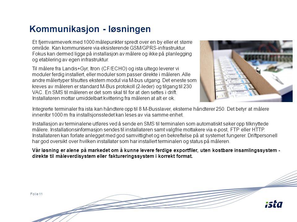 Kommunikasjon - løsningen Folie 11 Et fjernvarmeverk med 1000 målepunkter spredt over en by eller et større område.