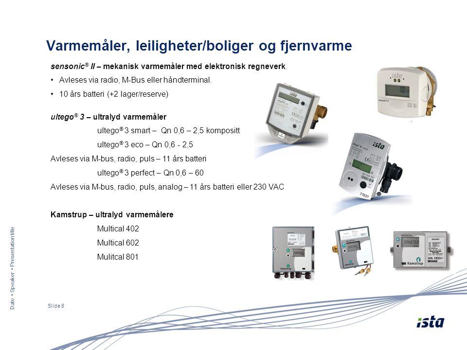 ultego ® 3 – ultralyd varmemåler ultego ® 3 smart – Qn 0,6 – 2,5 kompositt ultego ® 3 eco – Qn 0,6 - 2,5 Avleses via M-bus, radio, puls – 11 års batteri ultego ® 3 perfect – Qn 0,6 – 60 Avleses via M-bus, radio, puls, analog – 11 års batteri eller 230 VAC Kamstrup – ultralyd varmemålere Multical 402 Multical 602 Mulitcal 801 Date ▪ Speaker ▪ Presentation title Slide 8 Varmemåler, leiligheter/boliger og fjernvarme sensonic ® II – mekanisk varmemåler med elektronisk regneverk.