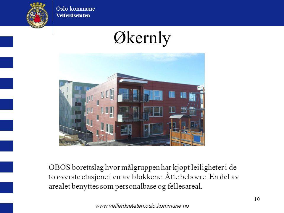 Oslo kommune Velferdsetaten www.velferdsetaten.oslo.kommune.no 10 Økernly OBOS borettslag hvor målgruppen har kjøpt leiligheter i de to øverste etasje