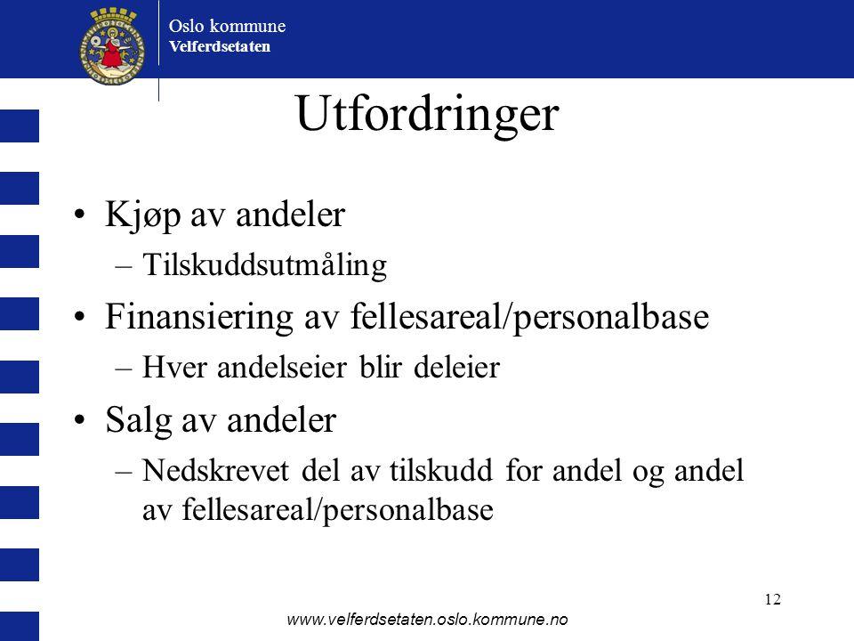 Oslo kommune Velferdsetaten www.velferdsetaten.oslo.kommune.no 12 Utfordringer •Kjøp av andeler –Tilskuddsutmåling •Finansiering av fellesareal/person