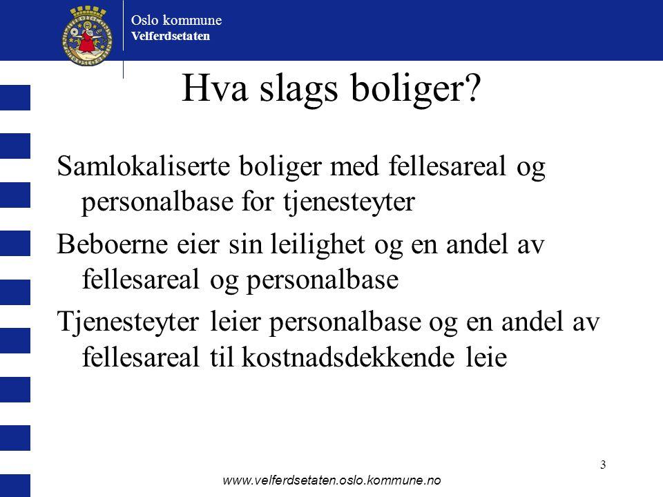 Oslo kommune Velferdsetaten www.velferdsetaten.oslo.kommune.no 3 Hva slags boliger? Samlokaliserte boliger med fellesareal og personalbase for tjenest