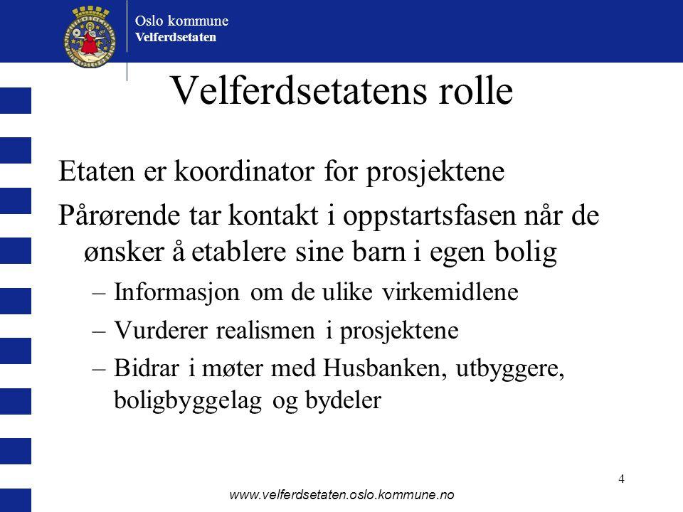 Oslo kommune Velferdsetaten www.velferdsetaten.oslo.kommune.no 4 Velferdsetatens rolle Etaten er koordinator for prosjektene Pårørende tar kontakt i o