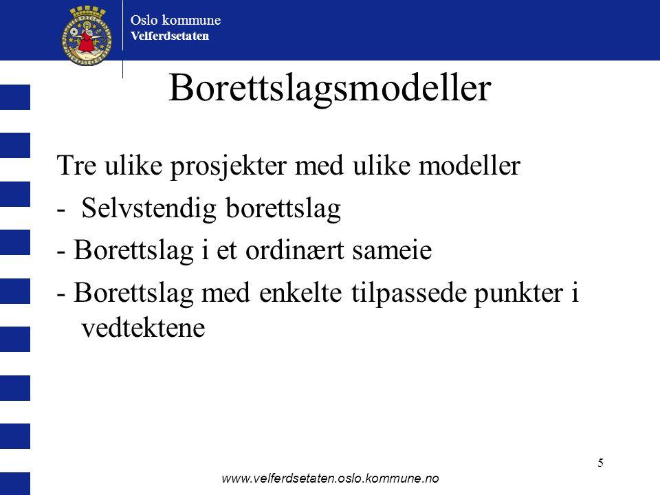 Oslo kommune Velferdsetaten www.velferdsetaten.oslo.kommune.no 5 Borettslagsmodeller Tre ulike prosjekter med ulike modeller -Selvstendig borettslag -
