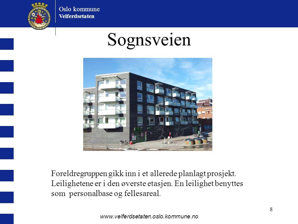 Oslo kommune Velferdsetaten www.velferdsetaten.oslo.kommune.no 8 Sognsveien Foreldregruppen gikk inn i et allerede planlagt prosjekt. Leilighetene er