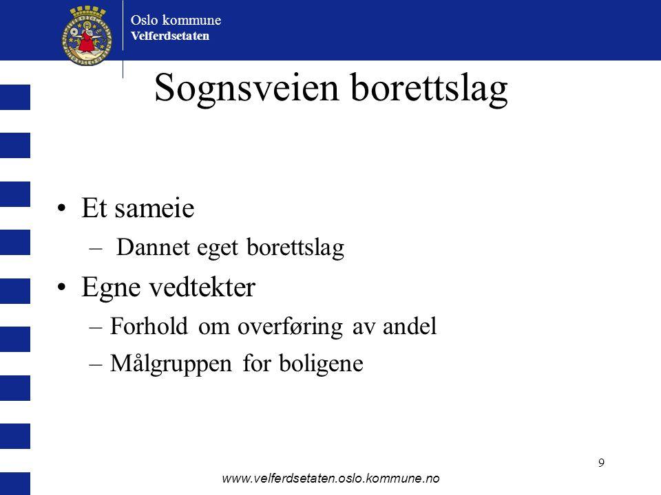 Oslo kommune Velferdsetaten www.velferdsetaten.oslo.kommune.no 9 Sognsveien borettslag •Et sameie – Dannet eget borettslag •Egne vedtekter –Forhold om