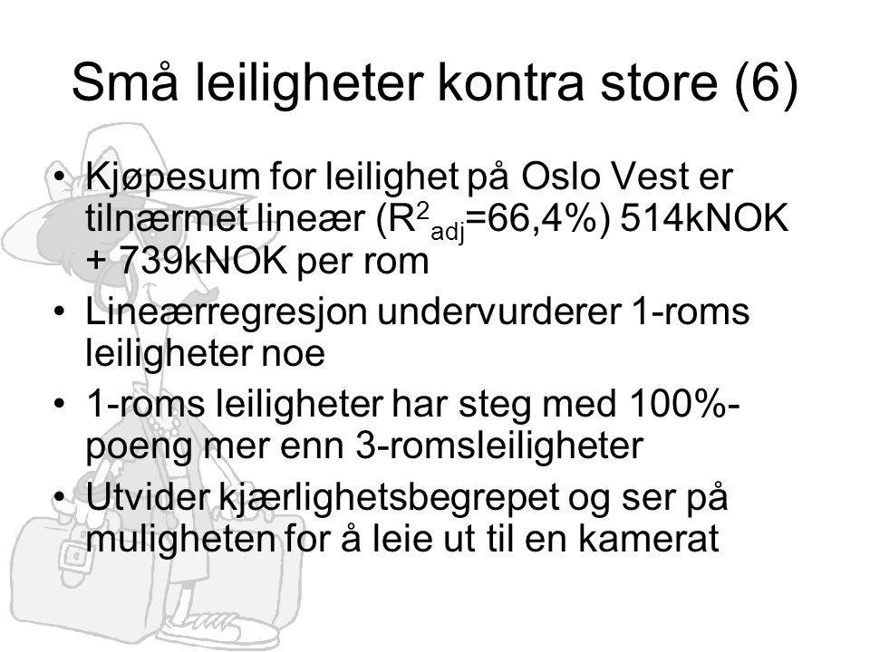 Små leiligheter kontra store (6) •Kjøpesum for leilighet på Oslo Vest er tilnærmet lineær (R 2 adj =66,4%) 514kNOK + 739kNOK per rom •Lineærregresjon