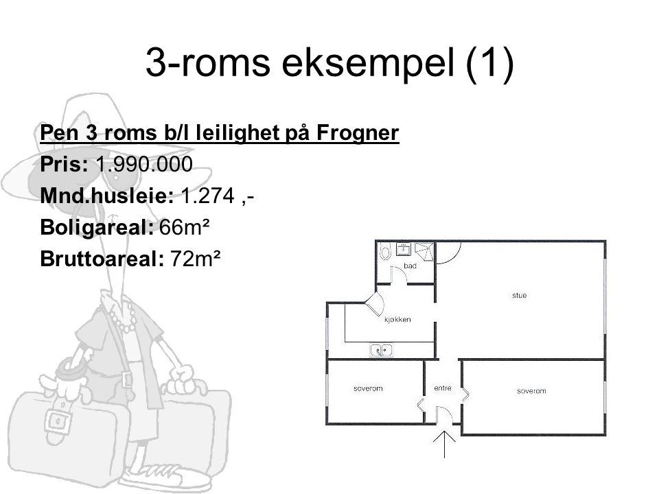 3-roms eksempel (1) Pen 3 roms b/l leilighet på Frogner Pris: 1.990.000 Mnd.husleie: 1.274,- Boligareal: 66m² Bruttoareal: 72m²