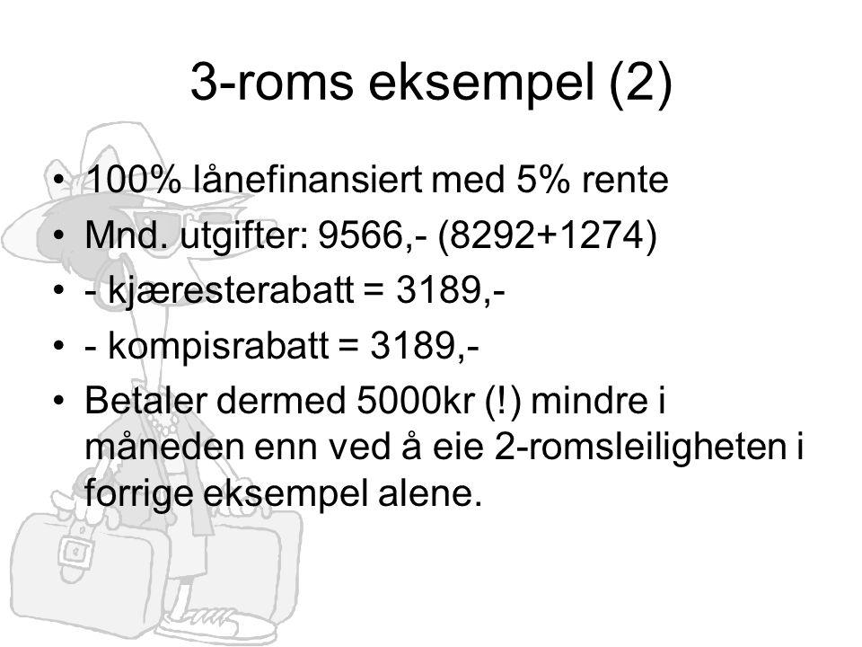 3-roms eksempel (2) •100% lånefinansiert med 5% rente •Mnd. utgifter: 9566,- (8292+1274) •- kjæresterabatt = 3189,- •- kompisrabatt = 3189,- •Betaler