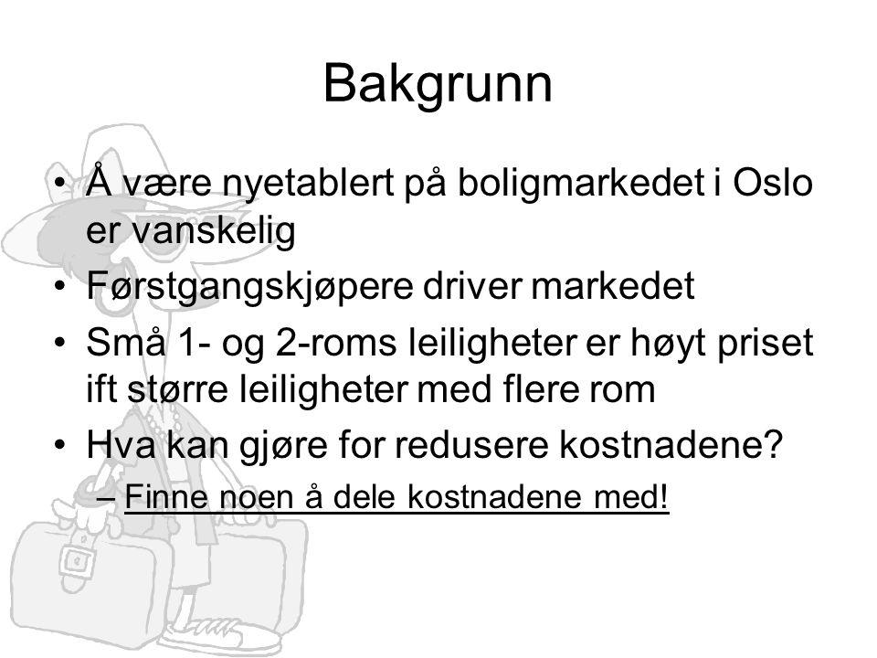 Bakgrunn •Å være nyetablert på boligmarkedet i Oslo er vanskelig •Førstgangskjøpere driver markedet •Små 1- og 2-roms leiligheter er høyt priset ift større leiligheter med flere rom •Hva kan gjøre for redusere kostnadene.