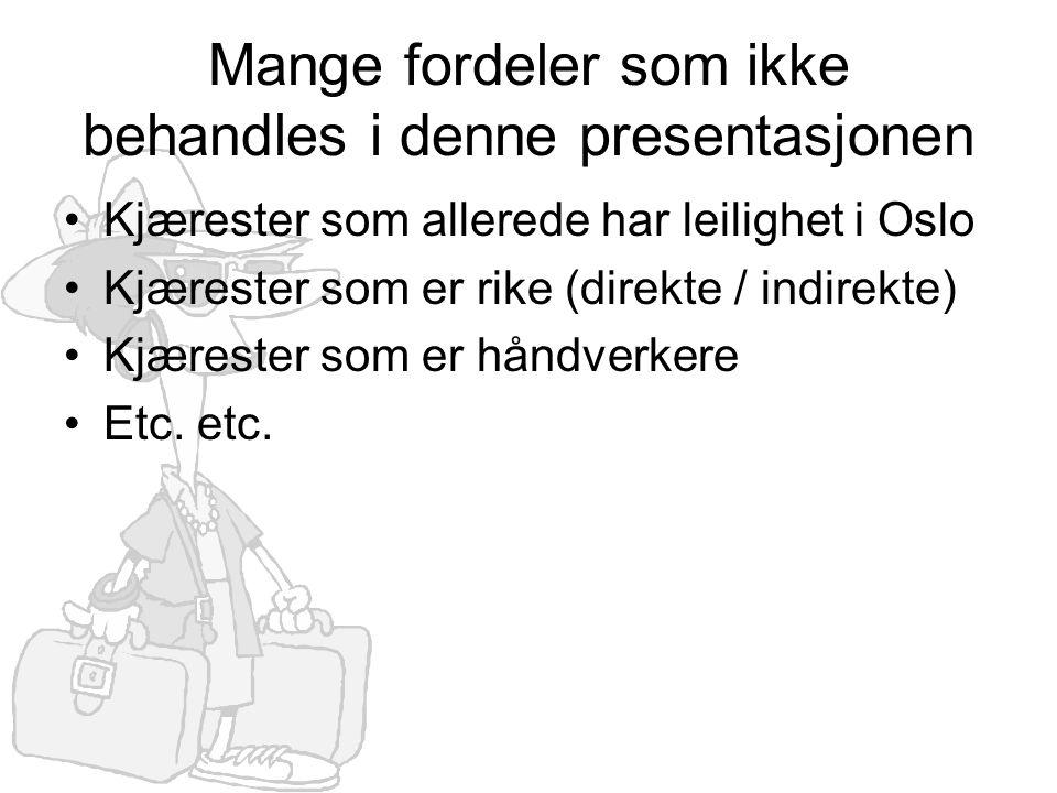 Mange fordeler som ikke behandles i denne presentasjonen •Kjærester som allerede har leilighet i Oslo •Kjærester som er rike (direkte / indirekte) •Kj
