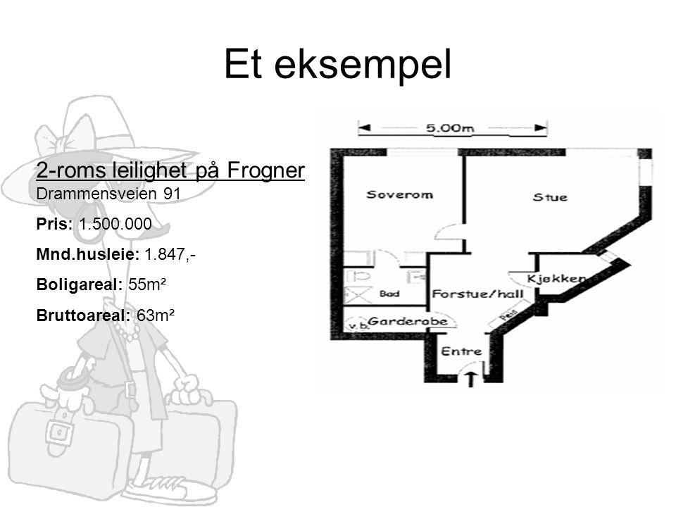 Et eksempel 2-roms leilighet på Frogner Drammensveien 91 Pris: 1.500.000 Mnd.husleie: 1.847,- Boligareal: 55m² Bruttoareal: 63m²