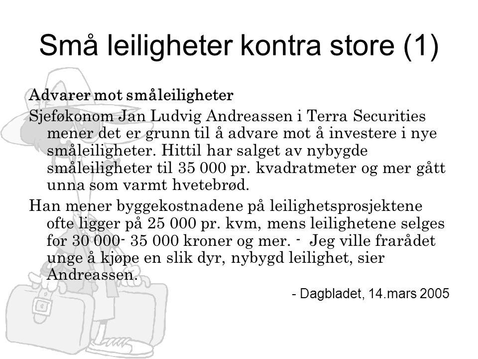 Små leiligheter kontra store (1) Advarer mot småleiligheter Sjeføkonom Jan Ludvig Andreassen i Terra Securities mener det er grunn til å advare mot å investere i nye småleiligheter.