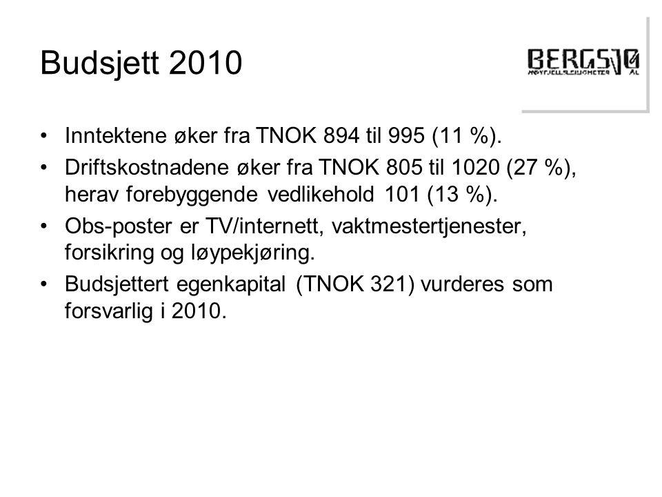 Budsjett 2010 •Inntektene øker fra TNOK 894 til 995 (11 %).
