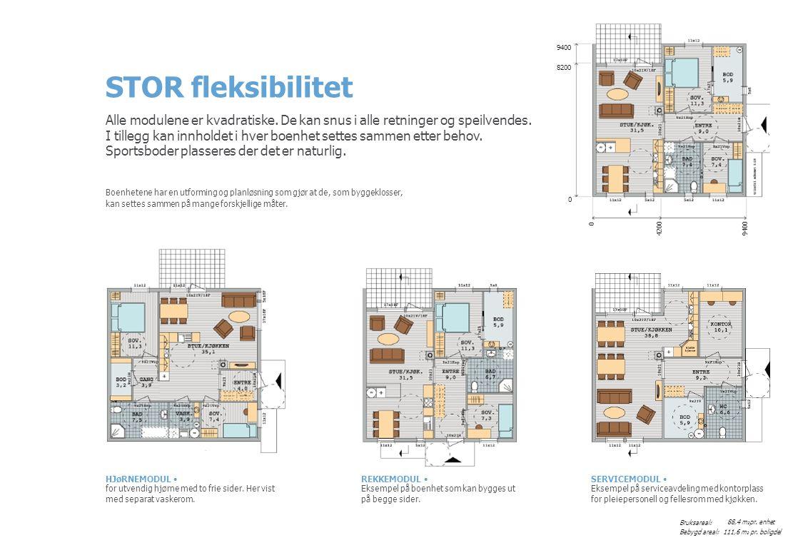 42009400 0 04:05 SERVICEMODUL • Eksempel på serviceavdeling med kontorplass for pleiepersonell og fellesrom med kjøkken.