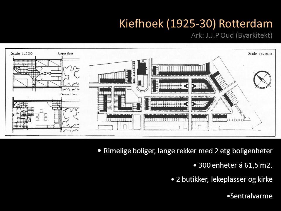 Kiefhoek (1925-30) Rotterdam Ark: J.J.P Oud (Byarkitekt) • Rimelige boliger, lange rekker med 2 etg boligenheter • 300 enheter á 61,5 m2. • 2 butikker