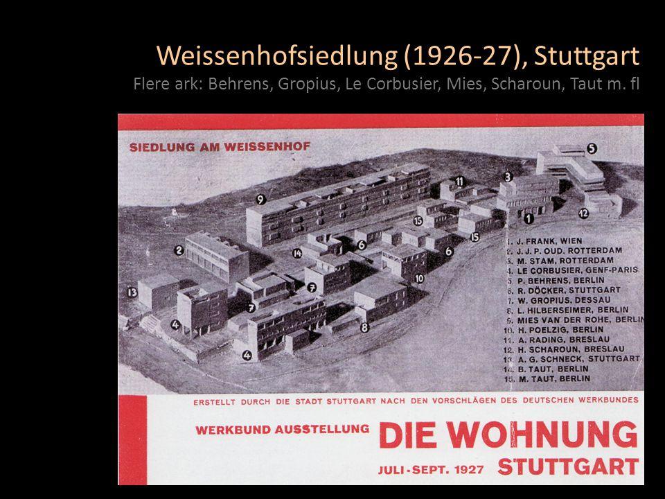 Weissenhofsiedlung (1926-27), Stuttgart Flere ark: Behrens, Gropius, Le Corbusier, Mies, Scharoun, Taut m. fl