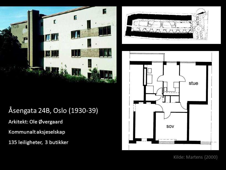 Åsengata 24B, Oslo (1930-39) Arkitekt: Ole Øvergaard Kommunalt aksjeselskap 135 leiligheter, 3 butikker Kilde: Martens (2000)