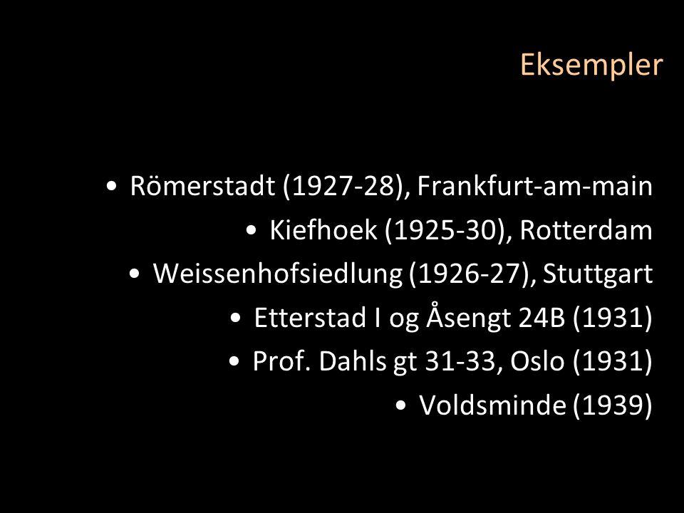 Eksempler •Römerstadt (1927-28), Frankfurt-am-main •Kiefhoek (1925-30), Rotterdam •Weissenhofsiedlung (1926-27), Stuttgart •Etterstad I og Åsengt 24B