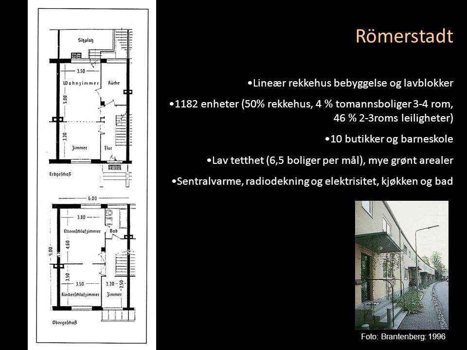 Römerstadt •Lineær rekkehus bebyggelse og lavblokker •1182 enheter (50% rekkehus, 4 % tomannsboliger 3-4 rom, 46 % 2-3roms leiligheter) •10 butikker o
