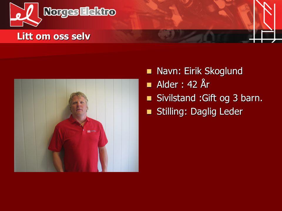 Teoretiske kvalifikasjoner: Eirik Skoglund  Grunnleggende Elektro (84-87)  Teknisk Fagskole Horten (96-98)  Elektro Ingeniør Høyskolen i Vestfold (98-00)  Godkjent el.
