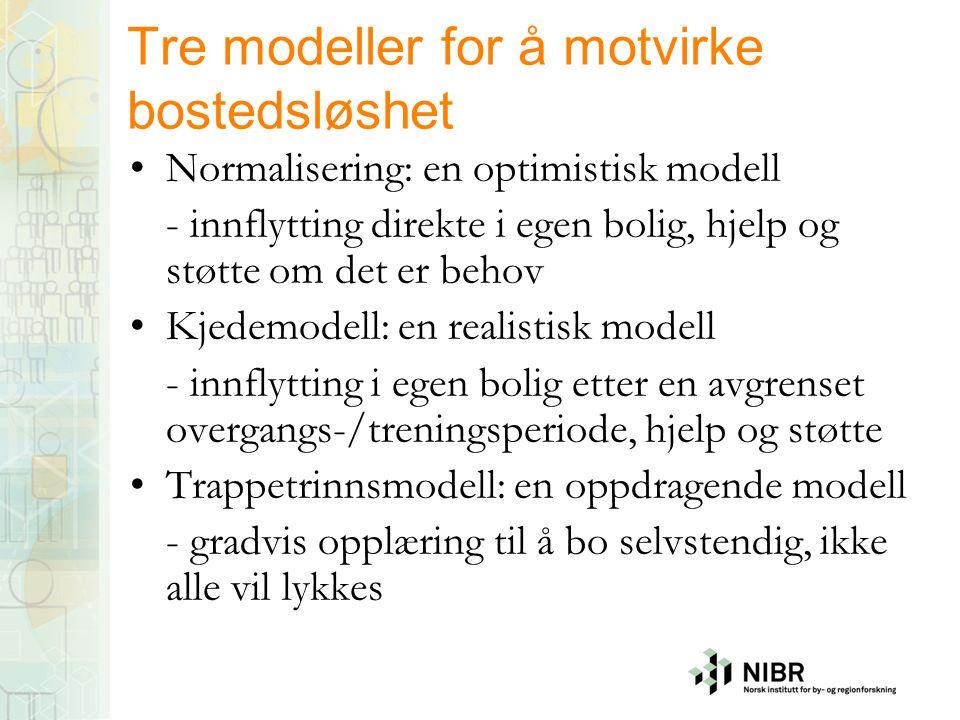 Tre modeller for å motvirke bostedsløshet •Normalisering: en optimistisk modell - innflytting direkte i egen bolig, hjelp og støtte om det er behov •K